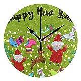 QMIN Wanduhr Happy New Year Weihnachtsbaum, runde Uhr, geräuschlos, kein Ticken, leise Uhr für Schlafzimmer, Wohnzimmer, Küche, Büro, Home Decor