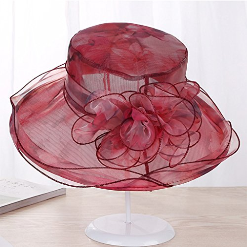 ZUOANCHEN Mujeres Oganza Sun Hat Playa Iglesia Sombrero Floral Tea Party Boda  Sombreros De Moda De e6dafa56548
