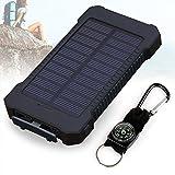 BSAMZ Solar Ladegerät, 10000mAh Dual USB Port Externe Akku, Wasserdichtes Staubdicht und Stoßfeste Tragbare Energienbank Handy-Ladegerät mit LED Licht für Camping Wandern und andere Outdoor Aktivitäten (Schwarz)