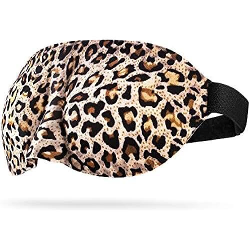 ropa kawaii para los mas guays Antifaz para Dormir para Niñas, CONISY 3D Diseño Contorneado Antifaces para Dormir para Viajes y Uso Doméstico para Hombre y Mujer - 2 paquetes(Leopardo y Negro)