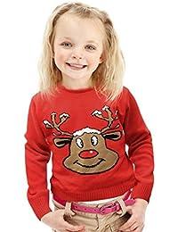 Neuheit! Weihnachtspullis Weihnachtspullover für Jungs und Mädchen Kinder- Rotes Rentier