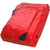 2.43M x 3.05M SUPER RED WATERPROOF TARPAULIN SHEET TARP COVER WITH EYELETS
