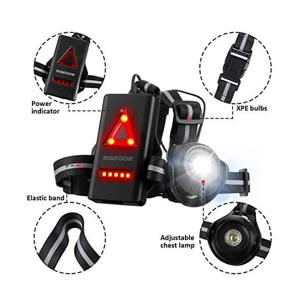 Running Light Ricaricabile USB, SGODDE Luce Corsa 2 Modi 500 LM Impermeabile Sport All' Aria Aperta, Leggero, Comodo e… 4 spesavip