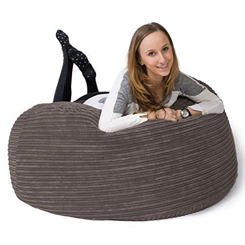 Lounge Pug, 'Mammoth' Sofa Sitzsack XXL, Riesen Sessle, Cord Schiefergrau