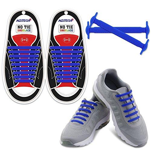 Homar No Tie Lacci per scarpe per bambini e adulti - Impermeabile in silicone elastico piatto Laces Athletic scarpa da corsa con multicolore per Scarpe Sneakerboots bordo e scarpe casual (Adult Size Dark Blue)