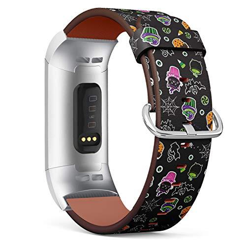 Art-Strap Kompatibel mit Fitbit Charge 3 / Charge 3 SE - Uhrenarmband Ersatzarmbänder Lederarmband mit Edelstahl-Verschluss und Adapter (Happy Halloween Cupcakes süße Elemente)