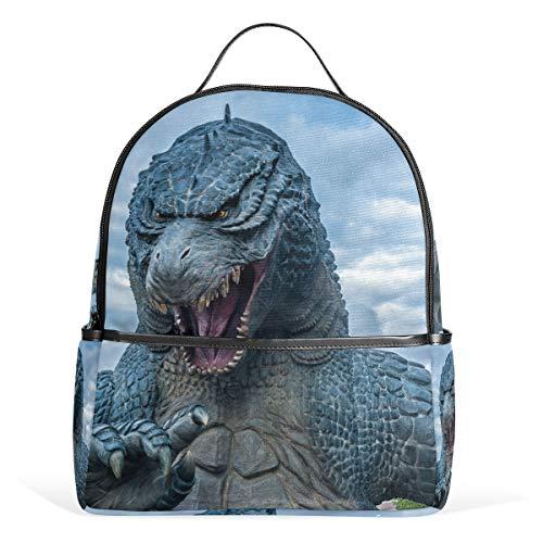 Godzilla Dinosaurier-Rucksack aus Segeltuch mit großer Kapazität, lässiger Reise-Tagesrucksack für Kinder, Mädchen, Jungen, Kinder, Studenten, 3-9 Jahre alt