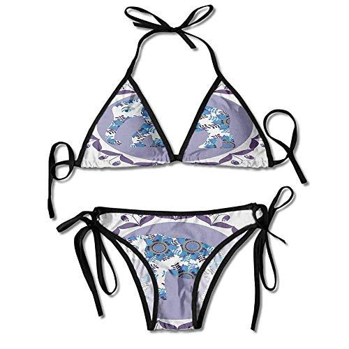Women's Bathing Bikini Set,Medallion Pattern with Tulip Sexy Bikini 2 Pieces -