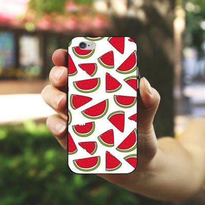 Apple iPhone X Silikon Hülle Case Schutzhülle Melone Sommer Essen Silikon Case schwarz / weiß