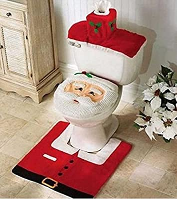 Vdealen Xmas Decoration Santa Toilet Set Seat Cover, Rug, Tissue Box Cover Set produced by Vktech® - quick delivery from UK.
