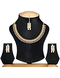 [Sponsored]Zeneme Latest Traditional Pearl Temple Coin Necklace Set / Jewellery Set With Earrings For Women