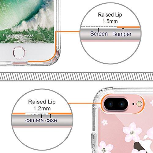 iPhone 8 Plus Hülle, iPhone 7 Plus Hülle, MOSNOVO Tropisch Kaktus Muster TPU Bumper mit Hart Plastik Hülle Durchsichtig Schutzhülle Transparent für iPhone 7 Plus / iPhone 8 Plus (Kaktus) Pink Cherry Blossoms