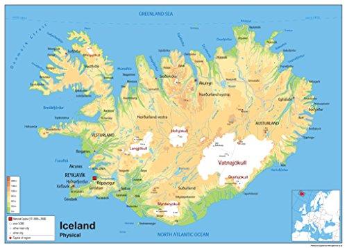 Physische Karte von Island, laminiertes Papier [GA] A0 Size 84.1 x 118.9 cm -