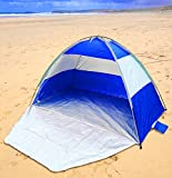 UKHobbyStore Blue or Red Beach Tent & Festival Shelter with Closing Door & Sand Pockets - SPF40 Sun Protection