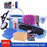 12Pcs/Set Car Brush Combination Household Car Wash Towel Car Mop Dust Portable Tool Set Car Cleaning Products :
