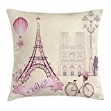 Abakuhaus Kuss Kissenbezug, Blumen Paris Symbol Eiffel, 40 x 40 cm, Kissenhülle mit Verstäckten Reißverschluss Waschbar Farbfest Beidseitiger Druck, Weiß Pink