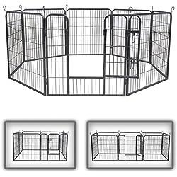 zoomundo Parc Enclos pour Chiens Métal pour Chiots Animaux Grillage Rongeur Petit avec Porte 8 Panneaux - L