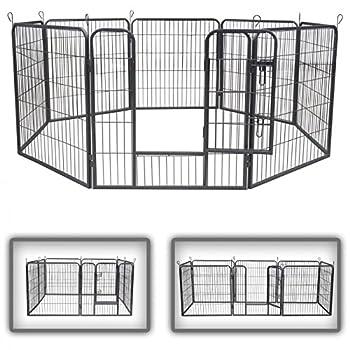 ZOOMUNDO Parc Enclos pour Chiens Métal pour Chiots Animaux Grillage Rongeur Petit Avec Porte 8 Panneaux