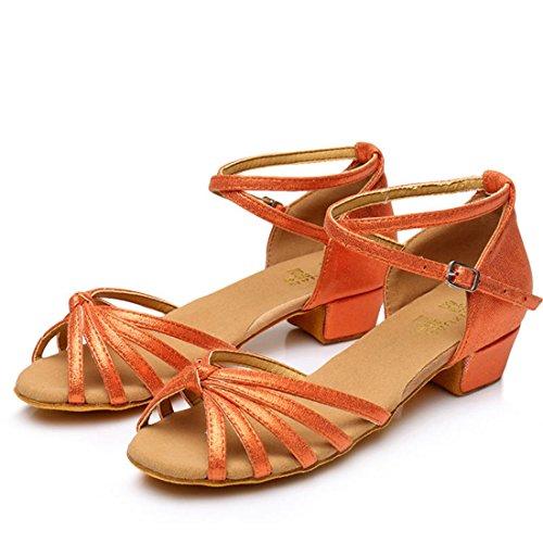 Wxmddn Ballo latino arancione scarpe scarpe da ballo figli adulti morbido esercizio di suole di calzature scarpe da ballo quattro stagioni Arancione