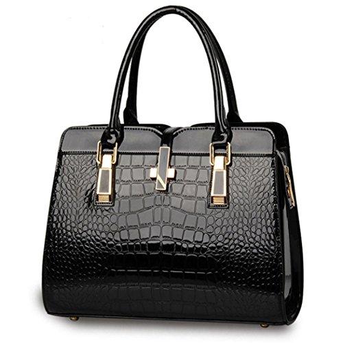 Borsa della borsa del hobo del cuoio del Faux della borsa della borsa della borsa della borsa delle donne Nero