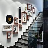 Bilderrahmen Collage GX Retro kreative Treppenhaus-Kombinations-Foto-Wand, Wand-montierte Hintergrund-Wand-Oberflächendekoration des Mehrfachrahmens (Farbe : Black White and Hu)