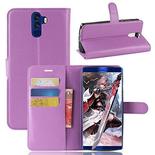 Kihying Hülle für Doogee BL12000 / Doogee BL12000 PRO Hülle Schutzhülle PU Leder Flip Wallet Fashion Geschäft HandyHülle (Lila - JFC04)