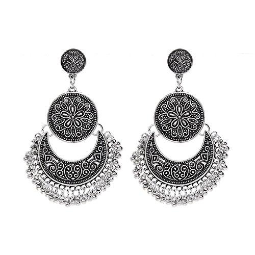 bohémien rond Cercle Lune Boucles d'oreilles créoles Bronze Cadeau pour Femme Fille Charm Bijoux
