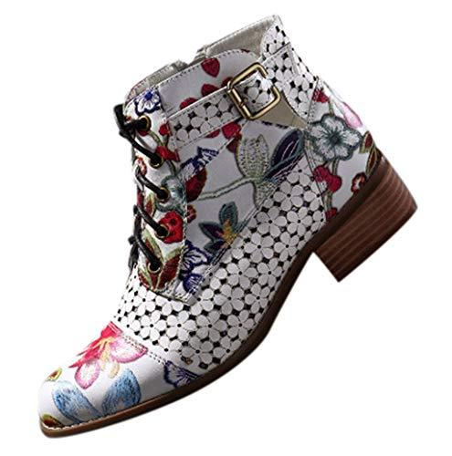 DOLDOA Schuhe Damen Stiefeletten mit Absatz Leder Chelsea Kurze Stiefel Handgefertigte Gestickt Bunte Patchwork Gestickte Blumen Vintage Stiefeletten