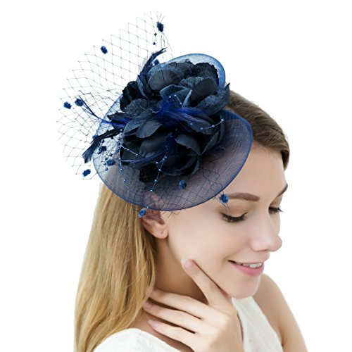 JaosWish Tulle Feather Fascinator Stirnband Netz Blume Haarclip für Cocktail Party Royal Ascot Hochzeit Hut Navy