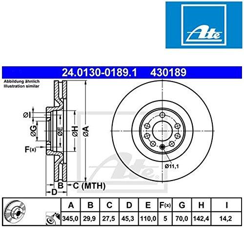 Preisvergleich Produktbild ATE 24013001891 Bremsscheibe - (Paar)