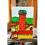Turm Guinigi (Lucca) - Leinwand Bord durchgeführt mit der Acryltechnik cm Größe 10x0,3x15cm, von Hand. Made in ITALI Lucca Toskana Zertifikat