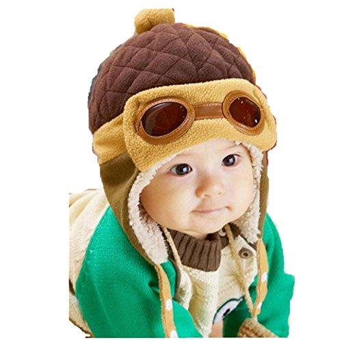 Babybekleidung Hüte & Mützen Longra Jungen Winter warme Mütze Pilot häkeln Earflap Hüte (Coffee) (Red Hat Blue Shirt Kostüm)