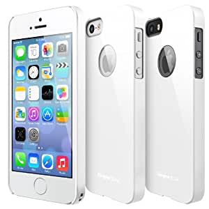 iPhone SE / 5S / 5 Case, Ringke [SLIM] Snug-Fit Slender [Tailored Cutouts] Ultra-Thin Side to Side Edge Coverage Superior Coating PC Hard Skin for Apple iPhone SE (2016) / 5S (2013) / 5 (2012) - Logo Cutout White