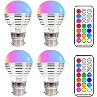 LED Bombillas de Colores,RGBW 3W Bombillas LED Regulable B22 Bulbo,12 Colores Múltiples, Party Club Disco KTV Magic Ball Efecto de escenario Iluminación,4 Packs