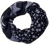 Écharpe boucle étoilée, large et légère, nombreuses couleurs vives disponibles -  Noir - One Size