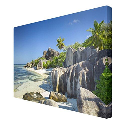 Bilderwelten Leinwandbild - Traumstrand Seychellen - Quer 2:3, Leinwand Leinwandbild XXL...