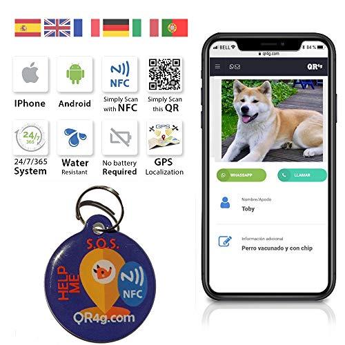 QR4G.com GPS Placa identificativa inteligente para mascotas (perros y gatos) con QR...