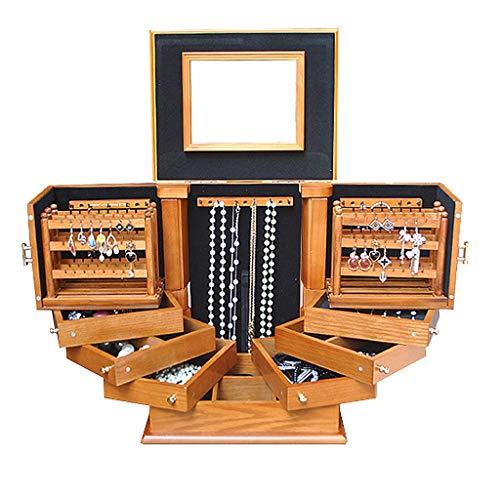 Boîtes À Bijoux en Bois De Rangement De Grande Capacité De Rangement De Boucles d'oreilles Vintage en Bois Massif (Color : Wood, Size : 30 * 24 * 36cm)
