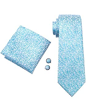 hombre 100% seda set de corbata, gemelos y la pañuelo para