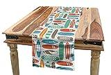 ABAKUHAUS Planche De Surf Chemin de Table, Voyage D'Été Retro, Rectangulaire de Salle à Manger, 40 x 225 cm, Multicolore