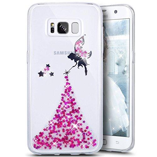 Custodia Cover per Samsung Galaxy S8,KunyFond Lusso Moda Brillantini Glitter Bling Placcatura Custodia Ultra Slim Soft Tpu Silicone Case Cover Scintillare Luccichio Cristallo Morbida Gel Protettiva Cu rose Angelo
