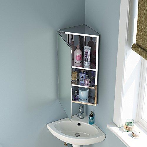 Seababyhouse Eck-Spiegelschrank für Bad, Edelstahl, zur Wandmontage, weiß, 3 Shelves