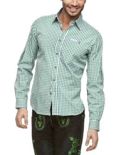 Stockerpoint Herren Regular Fit Trachtenhemd Campos2, Gr. Small, Grün (Dunkelgrün)