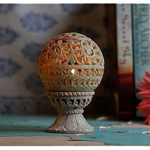 Store Indya, Te luz en forma de ovalo natural de esteatita vela votiva del sostenedor del quemador de incienso con el patron del follaje de trabajo de malla