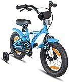 Prometheus Kinderfahrrad 14 Zoll Jungen Mädchen Blau Schwarz ab 4 Jahre mit Stützräder und Rücktritt - 14zoll BMX Modell 2019