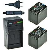 ChiliPower Panasonic VW-VBT380 Kit: 2x Batterie (4200mAh) + Chargeur pour Panasonic: HC-VW858/V757/V550/V250/V130/V727/V520/510/210/110/V707/V500/V100/V10/SD40/SD66/ SD80/SD99