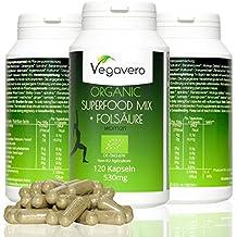 Superfood Mix + Ácido Fólico | 120 cápsulas | mezcla de 17 superalimentos orgánicos | Espirulina - Matcha - Moringa - Cúrcuma - Espinacas - Spirulina - Chlorella etc. | 100% vegano para hombres y mujeres | Fabricado en Alemania
