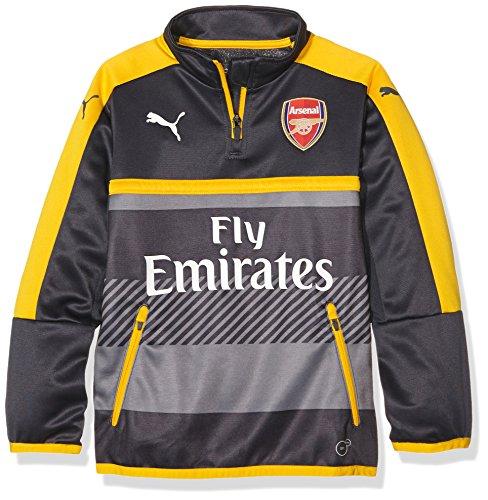 PUMA giacca da bambino 1/4 AFC top da allenamento-sales with side/2 tasche con cerniera, Ebony-Spectra yellow, 176, 749746 03
