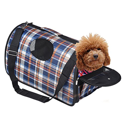 Pet Carrier Premium Travel Carry Bag Accessory Comfort Dog Cat Cage Crate Car Medium with Adjustable Shoulder Free Your Hands (M, blue) (Pet-träger Klein)