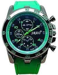 Disfrutar de pulsera Relojes Cronógrafo Automático resistente al agua reloj deportivo para vacaciones de verano playa Sport manecillas luminiscentes. Reloj claro color verde